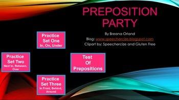 Preposition Party- Interactive No Print Activity
