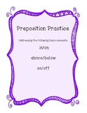 "Preposition Practice- Speech Basic Concepts: ""in/on, above"