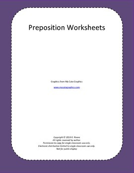 Preposition Practice Pages