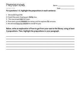 Preposition Practice Worksheet