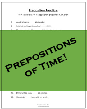 Preposition Practice Worksheet - TIME