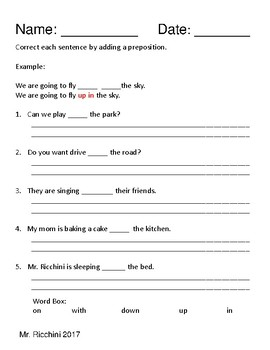 Preposition Practice with Word Box