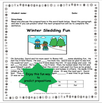 Preposition Predictions: Winter Sledding Fun