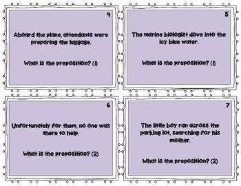 Preposition & Prepositional Phrase Task Cards