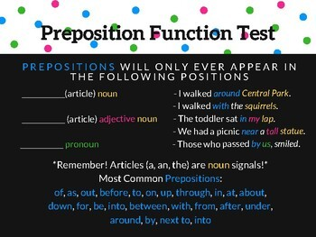 Preposition Presentation and Fill-in-the-Blank Student Notes