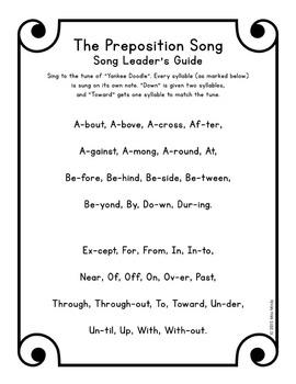 Preposition Song MP3 & Lyrics - Learn Grammar Parts of Speech with Music