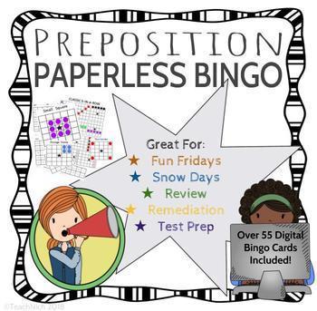 Preposition / Subordinating Conjunction BINGO - Distance Learning Friendly