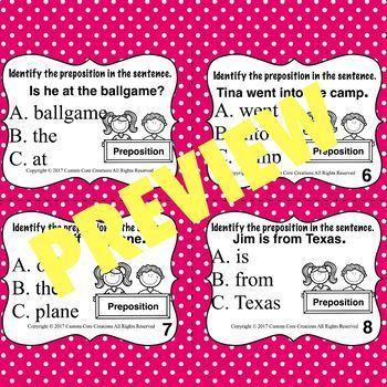 Preposition Task Cards (Parts of speech)