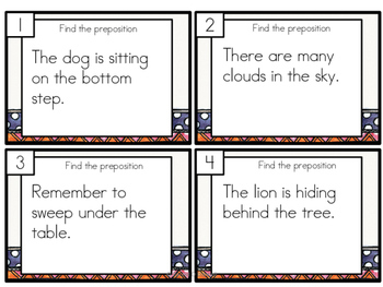 Preposition Task Cards Differentiated SAMPLE