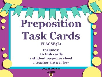 Preposition Task Cards: ELAGSE5L1