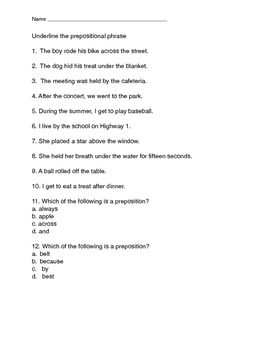 Preposition Test