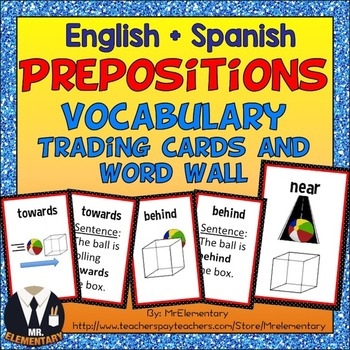Prepositions Trading Card Activities and Word Wall