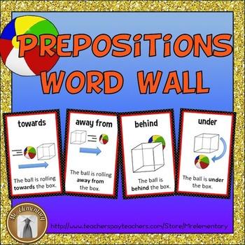 Preposition Vocabulary Word Wall