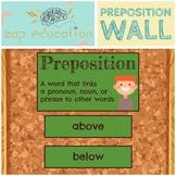 Preposition Wall | Parts of Speech Posters | Grammar Poste