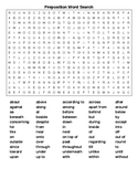 Preposition Word Search and KEY