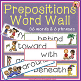 Prepositions Word Wall - Illustrated