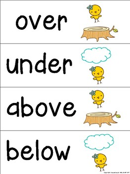 Prepositions Word Wall/Flash Cards