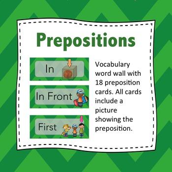 Preposition Wordwall: Prepositions - Flash Cards (Green)