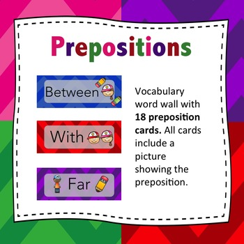 Preposition Word Wall - Preposition Flash Cards (Multi Color)