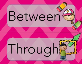 Prepositions: Wordwall or Flashcards (Pink)