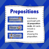 Preposition Wordwall: Prepositions - Flash Cards (Blue)