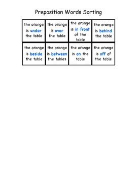 Preposition Words Sorting Board