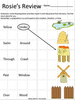 Preposition Worksheet and Game. Based on the book Rosie's Walk by Pat Hutchins