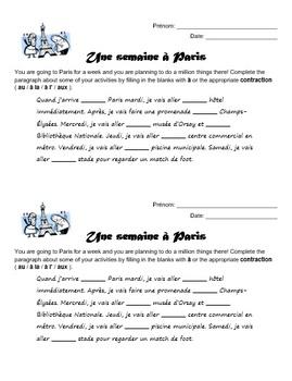 Preposition à with definite articles - Une semaine à Paris worksheet