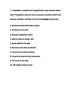 Preposition for 4th Grade