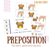 Preposition printable game: in on under? Where is the cat?