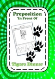 Preposition 'in front of' Tiger's Dinner Learning Activity