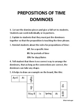 Preposition of Time Dominoes