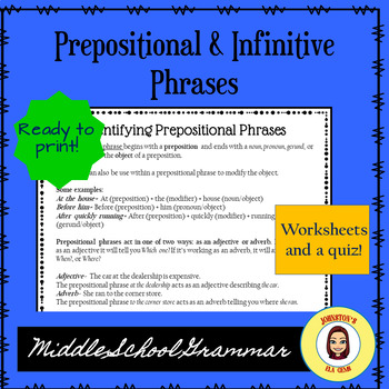 Prepositional & Infinitive Phrases- Middle School Grammar