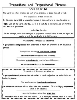 Prepositional Phrase Easy Reference Sheet