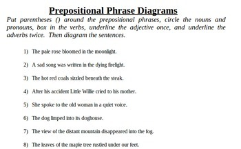 Prepositional Phrase Practice  Identify and    Diagram    by