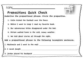 Prepositional Phrase Quick Check