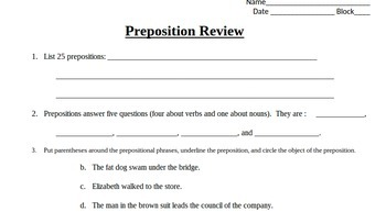 Prepositional Phrase Review: Identify, List, and Diagram