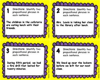 Prepositional Phrase Task Cards with Bonus Prepositional Phrase Word Find