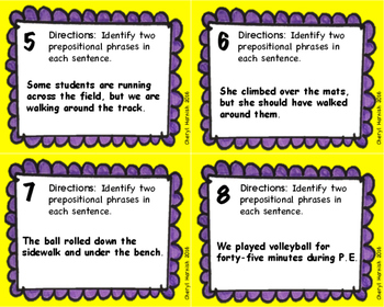 Prepositional Phrase Task Cards with Bonus Prepositional Phrase Word Find