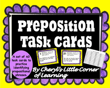 Prepositional Phrase Task Cards with Bonus Prepositional P