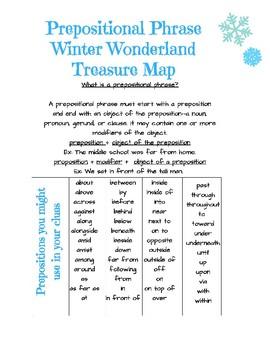 Prepositional Phrase Winter Wonderland Treasure Map Fun Seasonal Grammar