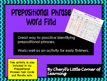 Prepositional Phrase Word Find