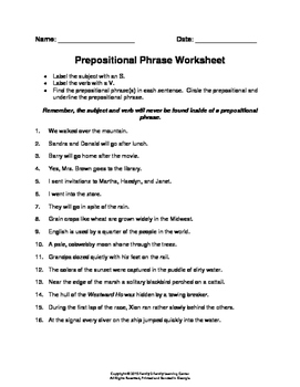Prepositions And Prepositional Phrases Worksheet Teaching ...