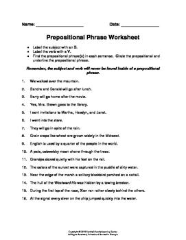 Prepositional Phrase Worksheet