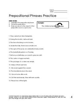 Prepositional Phrase Worksheets Bundle