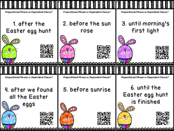 Prepositional Phrase or Dependent Clause Task Cards w/QR Codes