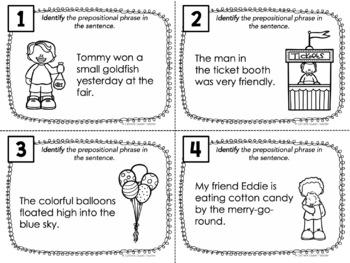 Prepositional Phrases Task Cards