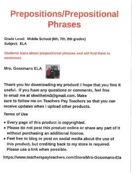 Prepositional Phrases #2