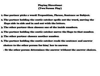 Prepositional Phrases Activity  4th 5th 6th 7th 8th Grade