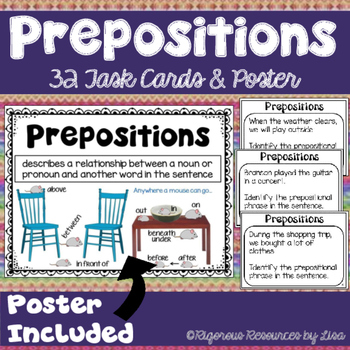 Prepositional Phrases Poster and Task Cards